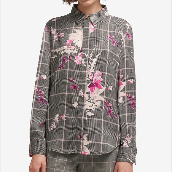 430a8925b0598 DKNY Garden Plaid button up blouse size L NWT
